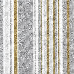 Lunch Prägeservietten 33x33cm - Design ELEGANCE STRIPES silber-gold 001