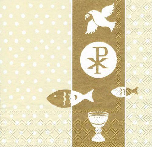 Lunch Servietten Kommunion Konfirmation -Design FIRST COMMUNION gold