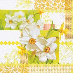 Lunch Servietten Ostern 33 x 33 cm - Design NARCISSUS PATCHWORK 001
