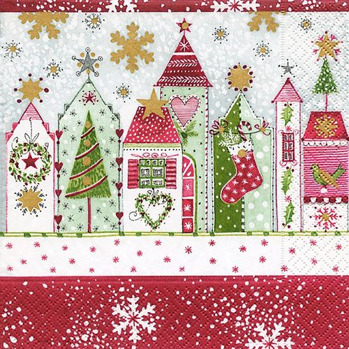 Cocktail Servietten Weihnachten 25x25 cm - Design CHRISTMAS ROAD