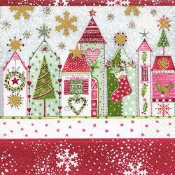 Cocktail Servietten Weihnachten 25x25 cm - Design CHRISTMAS ROAD 001