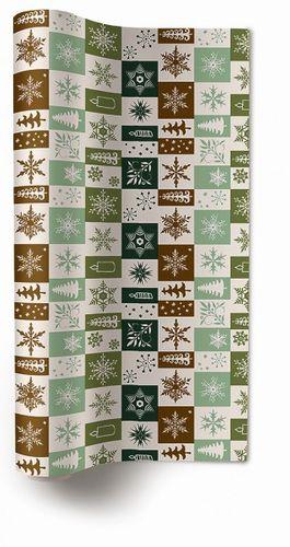 Tischläufer Vlies Weihnachten - Design CHRISTMAS SQUARES green