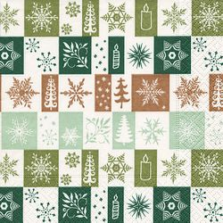 Lunch Serviette Weihnachten - Design CHRISTMAS SQUARES green 001