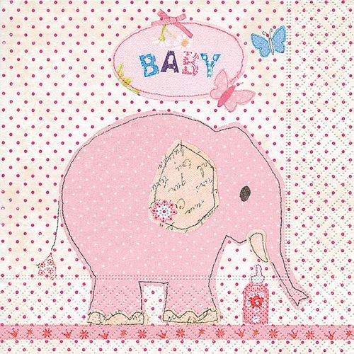 Lunch Taufservietten 33x33 cm bedruckt - Design IT'S A GIRL