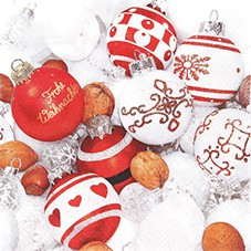 Servietten Weihnachten 33 x 33 cm - Design RED WHITE BALLS 001
