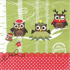 Servietten Weihnachten 33 x 33 cm - Design DRESSED UP OWLS