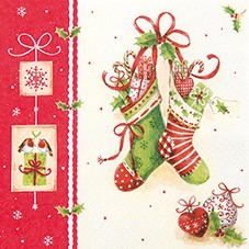 Servietten Weihnachten 33 x 33 cm - Design X-MAS STOCKINGS
