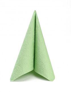Papierservietten geprägt 33x33cm - Design ELEGANCE UNI pale green 001