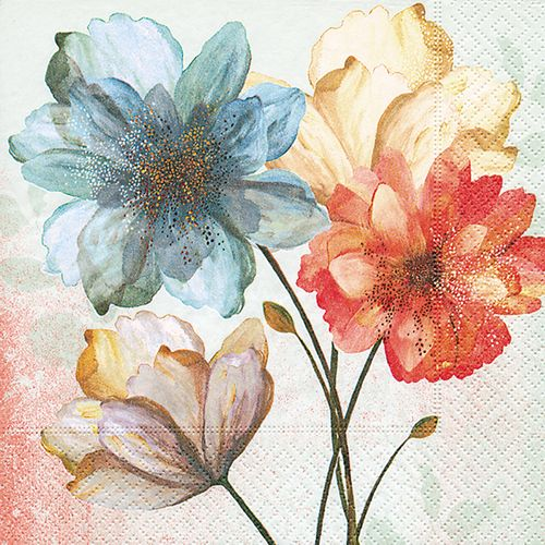 Servietten Aquarell Sommer und Herbst - Design PORTRAIT OF FLOWERS