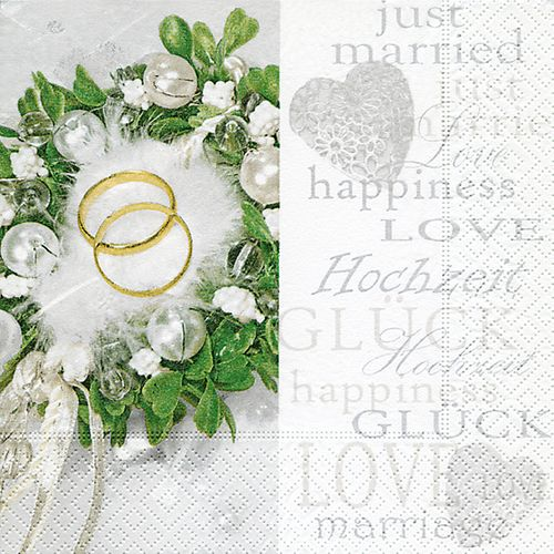 Lunch Servietten Hochzeit bedruckt - Design HAPPINESS & LOVE
