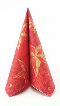 50 Papierservietten 25x25 cm Weihnachten - Design STAR SHINE ROT