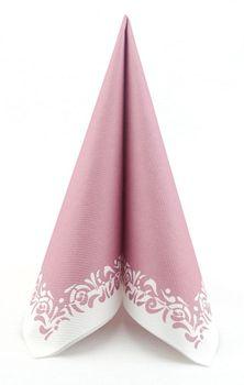 50 Servietten stoffähnlich 40x40 cm - ROMANTIQUE pastell altrosa 001