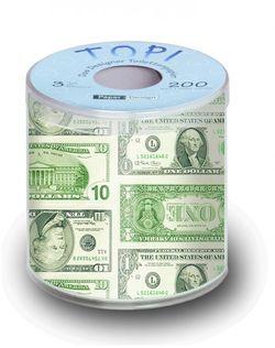 Geschenk Toilettenpapier bedruckt mit Design DOLLARS