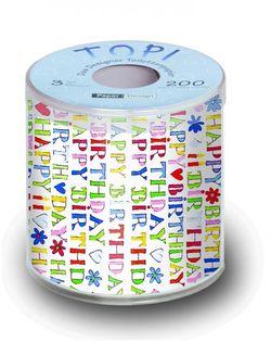 Geschenk Toilettenpapier Geburtstag mit Design HAPPY BIRTHDAY