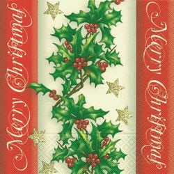 Lunch Weihnachtsservietten  - DESIGN HOLLY BORDER 001