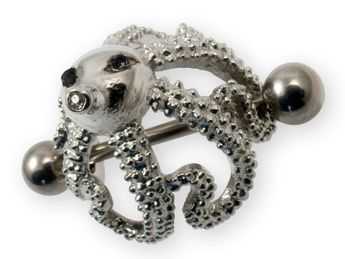 "Nipple Piercing ""Octopus"" with 3 Zirconia crystals in different colors – picture 4"