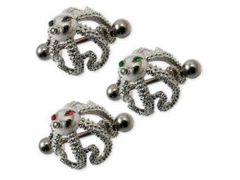 "Nipple Piercing ""Octopus"" with 3 Zirconia crystals in different colors – picture 1"