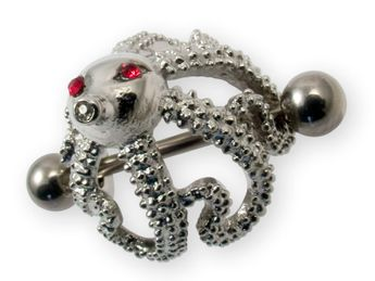 "Nipple Piercing ""Octopus"" with 3 Zirconia crystals in different colors – picture 3"