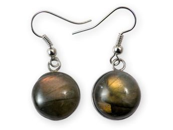 Stainless Steel Earrings with Labradorite Inlay