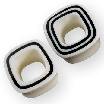 Viereckige Linien Flesh Tunnels (2 Modelle) (6-22mm) Weiß pg130