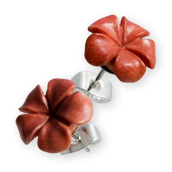 Hand-carved stud earrings hibiscus flower wood bone – picture 3