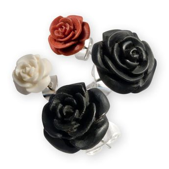 Ear Studs - Carved Rose Flower – picture 1