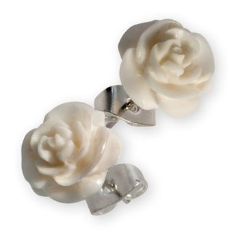 Ear Studs - Carved Rose Flower – picture 4