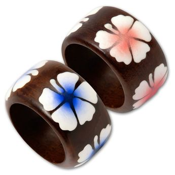 Brown Wood Ring with Blue oder Pink Hibiscus Blossom – picture 1
