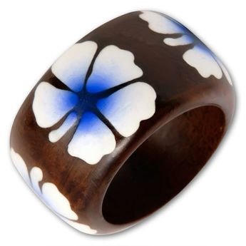 Brown Wood Ring with Blue oder Pink Hibiscus Blossom – picture 2