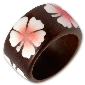 Brown Wood Ring with Blue oder Pink Hibiscus Blossom – picture 3