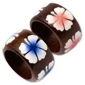 Holz Ring - Pinke oder Blaue Hibiskus Blüten 001