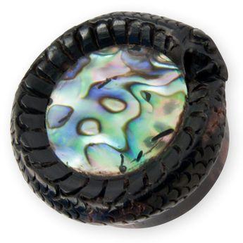 Ebenholz Abalone Muschel Plug Motiv Schlange – Bild 1