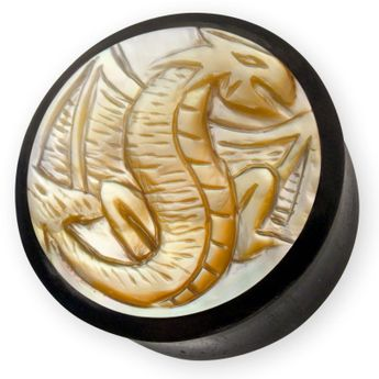 Ebony Wood Ear Plug with Dragon Motif in Mother of Pearl 12-28 mm black – picture 1