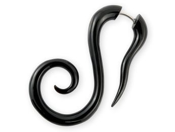 Fake Ear Stretcher Spiral Earring - horn or bone – picture 2