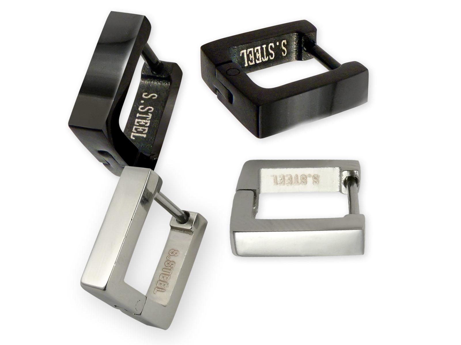 a9247acce420 Pendientes de aro cuadrados de acero inoxidable - cepillado, pulido o negro