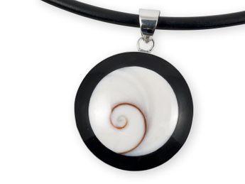 Ketten-Anhänger Shiva Auge in Silber gefasst – Bild 1