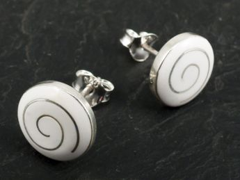 Round Silver Ear studs with Spiral – picture 5