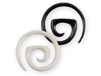 Dehnspirale Ohrringe Creole Horn & Knochen 2-10mm ex080  – Bild 1
