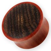 Red Wood Plugs mit Cocobolo Edelholz Inlay 001