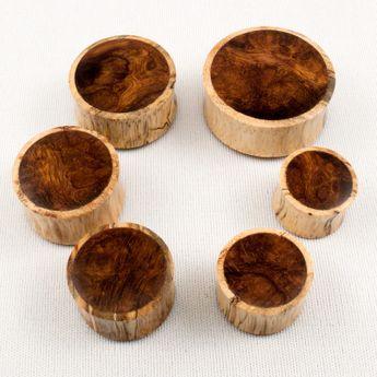 Zebra Tamarinde Holz Plugs mit Wüsteneisenholz Inlay 14 und 30 mm – Bild 3
