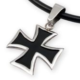 Stainless Steel Pendant - Black Iron Cross