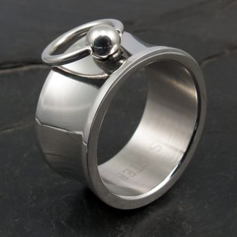 Story Of O Ring Stainless Steel - wide & concave - with removable Slave Ring – picture 3