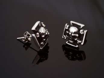 Stainless Steel Earstuds - Iron Cross with Skull and Crossed Bones – picture 3