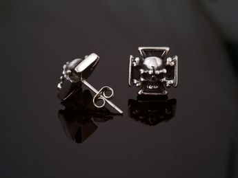 Stainless Steel Earstuds - Iron Cross with Skull and Crossed Bones – picture 4