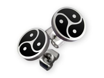 Stainless Steel Earrings - BDSM Triskel - in silver or black – picture 2