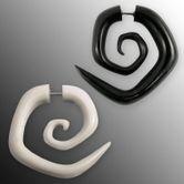 Fake Piercing - Eckige Spirale - aus Horn oder Knochen
