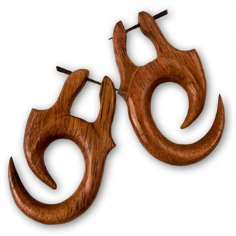 Brown Tribal Wood Earrings – picture 2