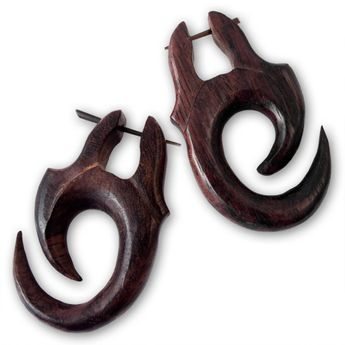 Brown Tribal Wood Earrings – picture 3