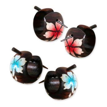 """Pequeños pendientes de aro de madera """"flor de hibisco"""" – picture 3"""