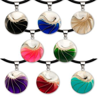 Noble Stainless Steel Pendant with Nautilus Shell in 9 different Colors – picture 2